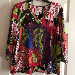 Chico's v neck t-shirt-3/4 sleeves Size 3.0